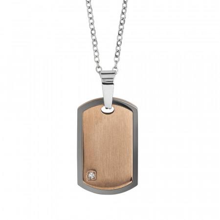 Collana in acciaio con piastrina effetto graffiato e zircone