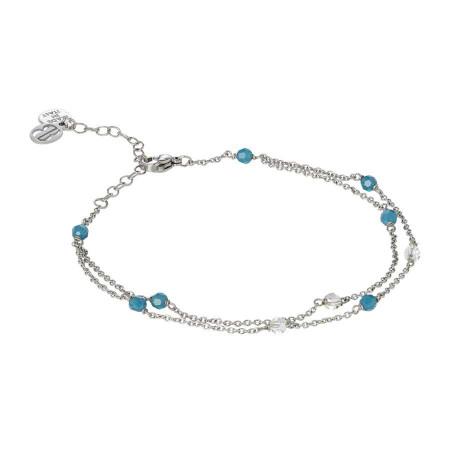 Cavigliera doppio filo con Swarovski carribean blue opal e aurora boreale