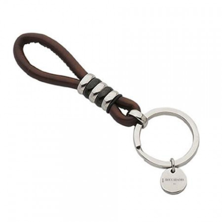 Keychain in brown leather , stainless steel and rubber