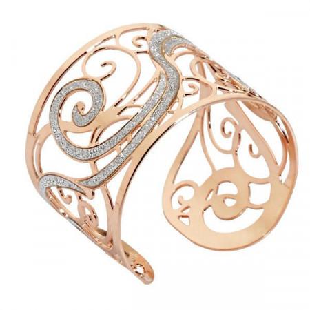 Bracciale rigido in bronzo placcato oro rosa e superfici glitterate