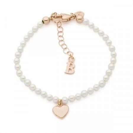 Bracciale con perle Swarovski e cuore centrale