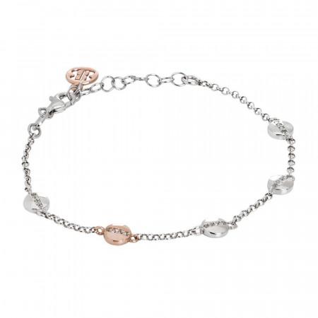 Bracciale in argento con elementi circolari bicolor e zirconi