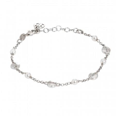 Bracciale con perle Swarovski ed elementi circolari con zirconi
