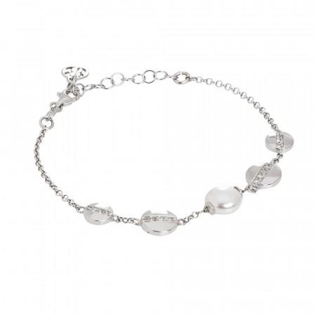 Bracciale con perla Swarovski ed elementi circolari con zirconi