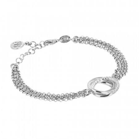 Bracciale doppio filo in argento rodiato con decoro in zirconi