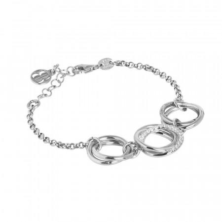 Bracciale in argento con cerchi intrecciati e zirconi