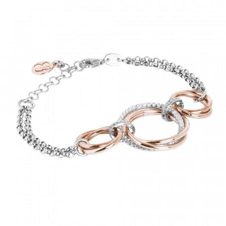 Bracciale doppio filo con cerchi intrecciati placcati oro rosa e zirconi