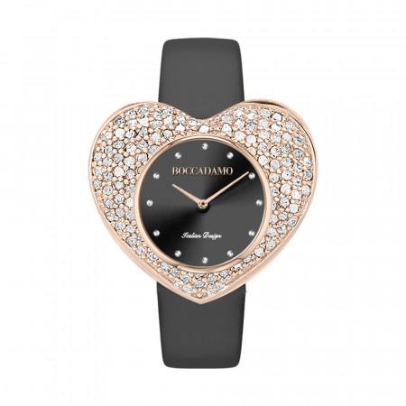 Orologio con quadrante nero a forma di cuore e cinturino in vera pelle nera
