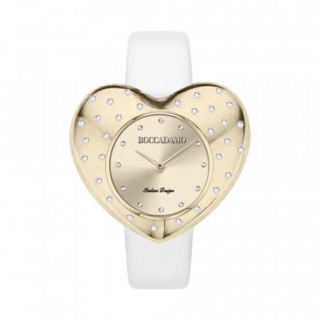 Orologio con quadrante a cuore gold e cinturino in pelle bianca