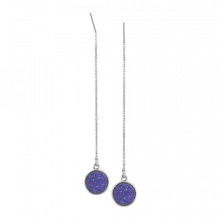 Orecchini pendenti con druzy stone viola