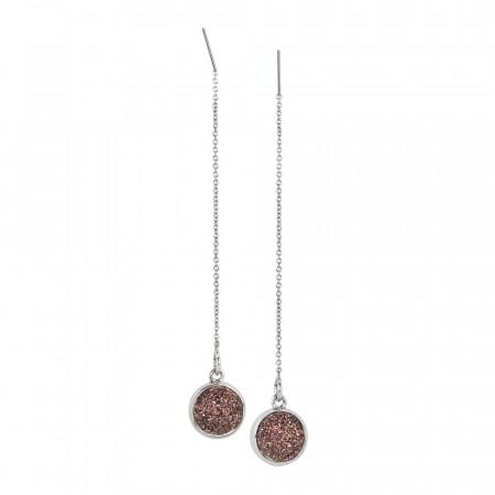 Orecchini pendenti con druzy stone color bronzo