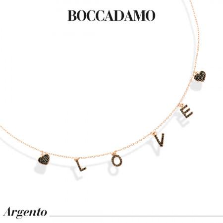 Collana placcata oro rosa con pendenti in zirconi neri dalla scritta LOVE