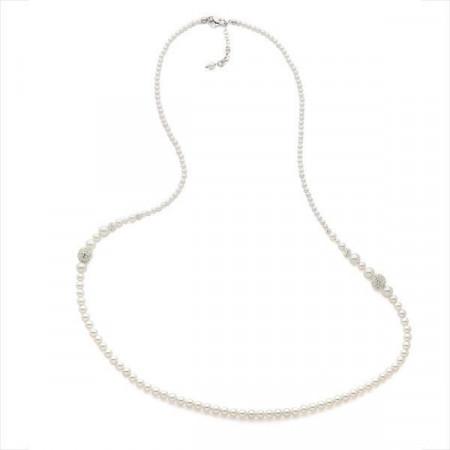 Collana in argento e filo di perle Swarovski