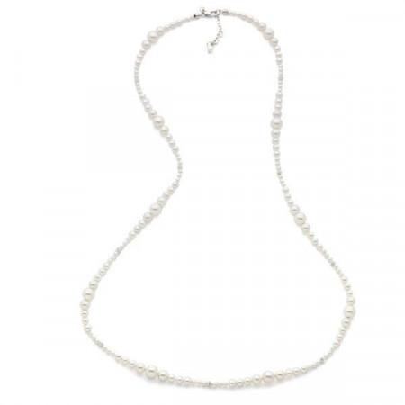 Collana in argento e perle Swarovski bianche