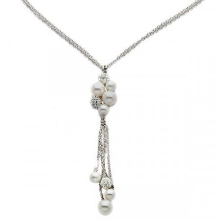 Collana multifilo in argento e Swarovski
