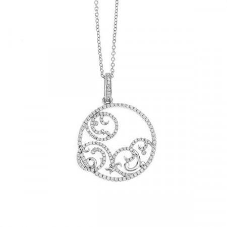 Collana in argento con pendente circolare traforato e zirconi