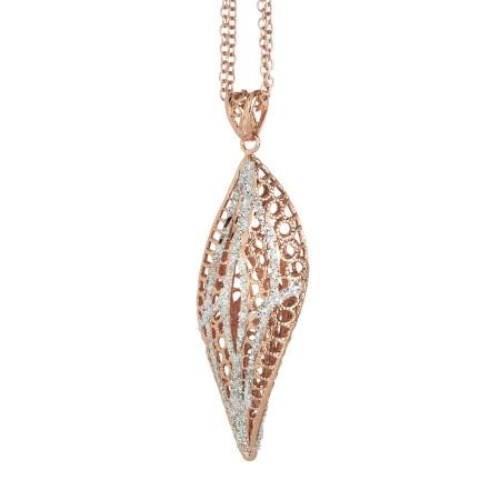 Collana in argento bicolor con pendente a spirale
