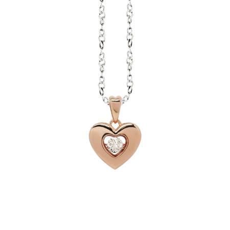 """Collana bicolor con pendente a cuore misura """"small"""" e zircone"""