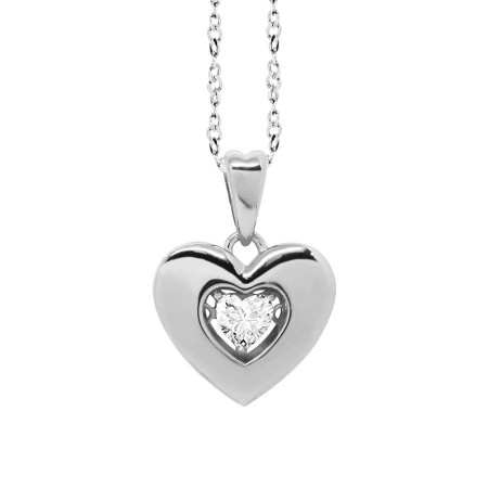 """Collana con pendente a cuore misura """"large"""" e zircone"""