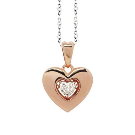 """Collana bicolor con pendente a cuore misura """"large"""" e zircone"""