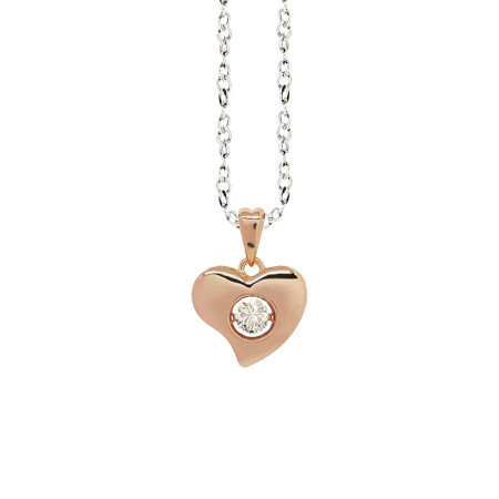 """Collana bicolor con pendente a cuore curvo misura """"small"""" e zircone"""