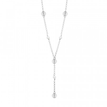 Collana con perle Swarovski ed elementi circolari con zirconi