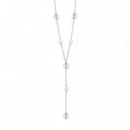 Collana cravattino con perle Swarovski ed elementi circolari con zirconi