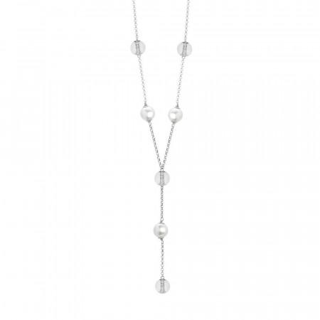 Collana cravattino con perle Swarovski ed elementi rodiati circolari con zirconi