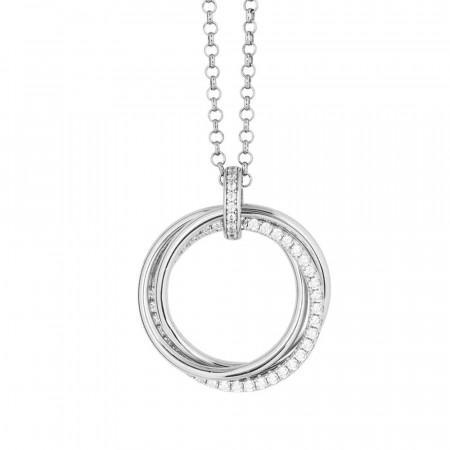 Collana in argento con pendente circolare e zirconi