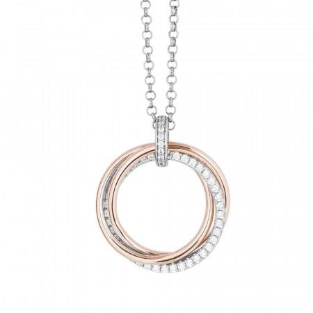 Collana in argento bicolor con pendente circolare e zirconi