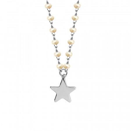 Collana con cristalli beige e stella