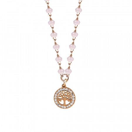 Collana rosata con cristalli rosa milk e albero della vita