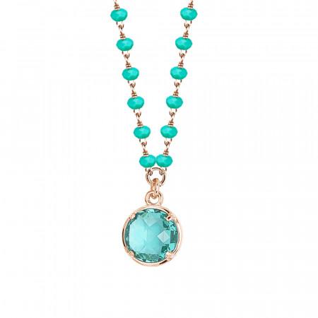 Collana rosata con cristalli e pendente verde acqua