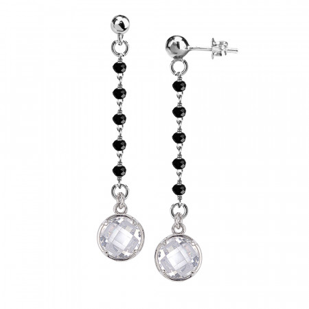 Orecchini con cristalli neri e pendente crystal