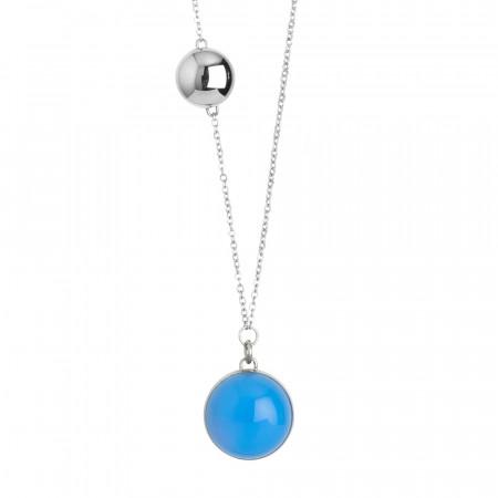 Collana in acciaio con cabochon azzurro