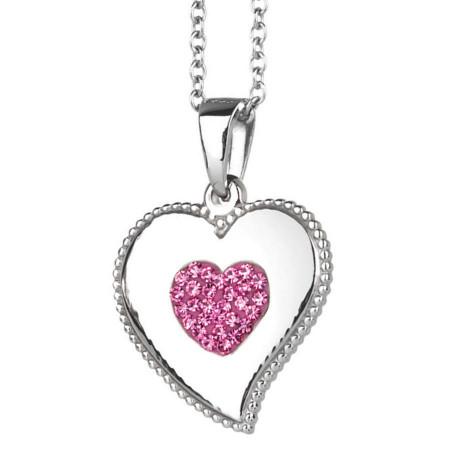 Collana con cuore pendente e strass rosa