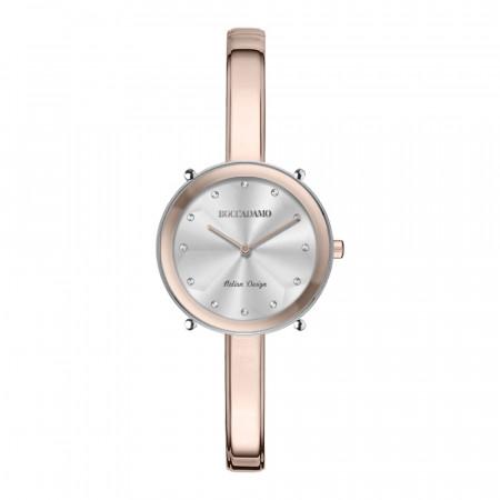 Orologio solo tempo donna rosa e silver con indici in Swarovski