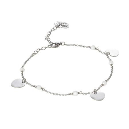 Cavigliera con Swarovski white alabaster e charms a forma di cuore