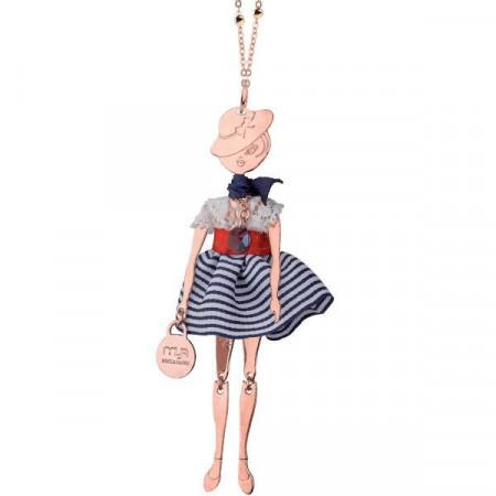 Collana con bambolina e cristalli Swarovski blu