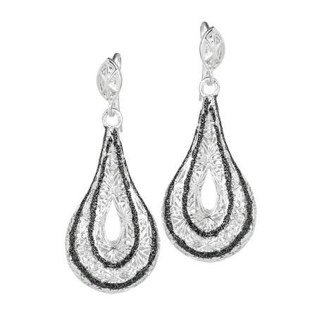 Orecchini in argento con pendente a goccia elettrofuso e smalto glitterato a mano
