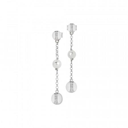 Orecchini pendenti con perla Swarovski ed elemento zirconato