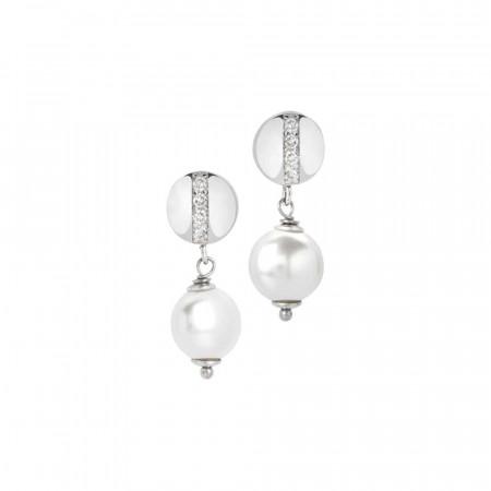 Orecchini con perla Swarovski schiacciata ed elemento zirconato
