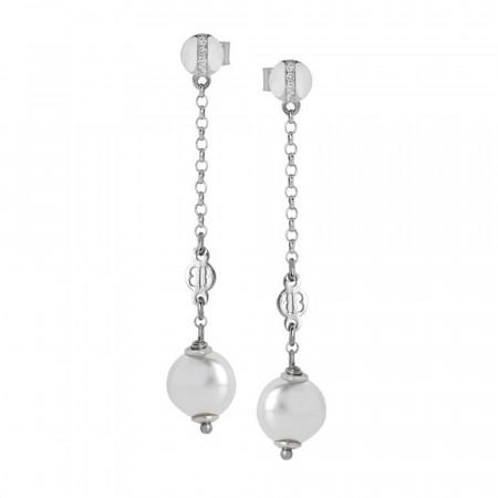 Orecchini con perla bianca Swarovski pendente