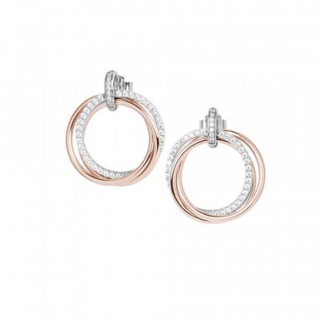 Orecchini a cerchio in argento placcato oro rosa con zirconi