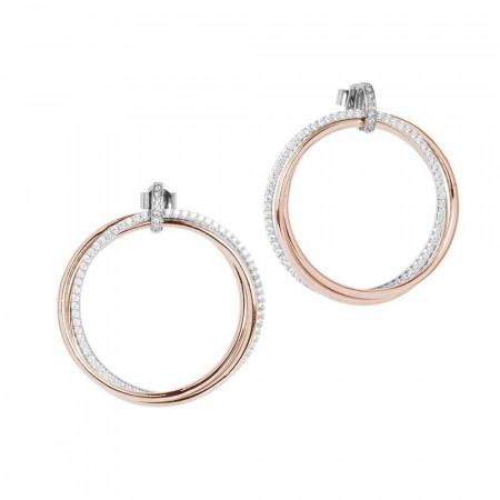 Orecchini con maxi cerchio pendente placcato oro rosa e zirconi