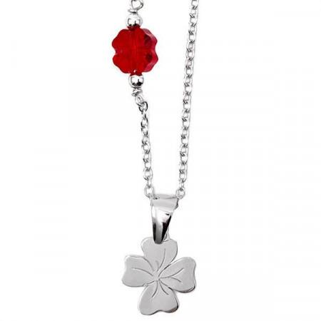 Collana in argento con Swarovski rosso