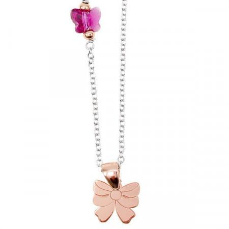 Collana in argento con Swarovski rosa