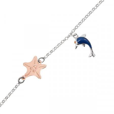 Bracciale in argento con delfino