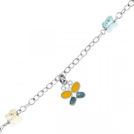 Bracciale in argento con farfalla e Swarovski