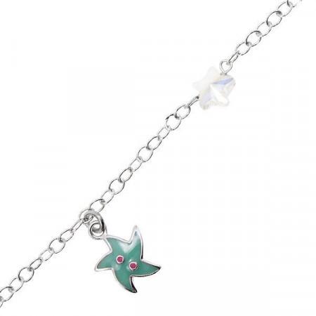 Bracciale in argento con stella marina e Swarovski